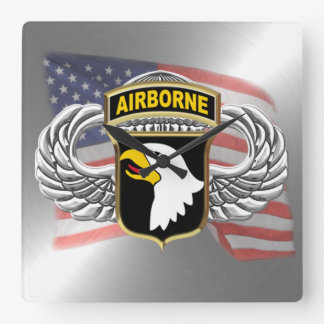 "101st Airborne 10.75"" Square Wall Clock"