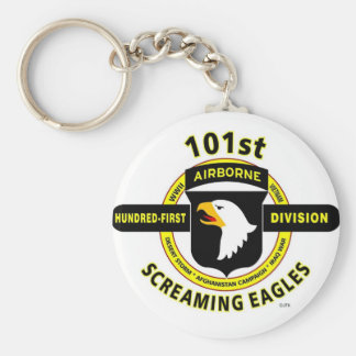 "101ST AIRBORNE DIVISION ""SCREAMING EAGLES"" BASIC ROUND BUTTON KEYCHAIN"