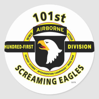 "101ST AIRBORNE DIVISION ""SCREAMING EAGLES"" CLASSIC ROUND STICKER"