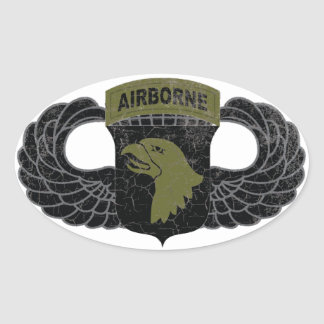 """101st Airborne Division """"Screaming Eagles"""" RUSTIC Oval Sticker"""