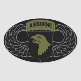 """101st Airborne Division """"Screaming Eagles"""" SUBDUED Oval Sticker"""
