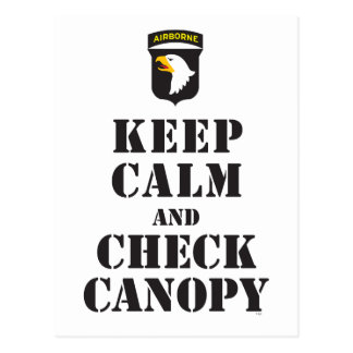 101ST AIRBORNE - KEEP CALM AND CHECK CANOPY POSTCARD