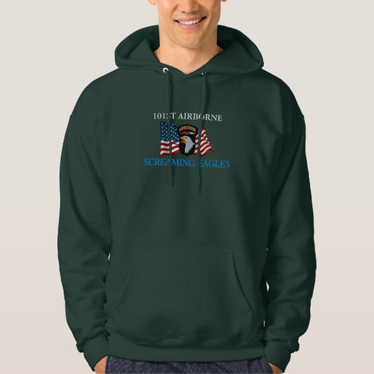 101st Airborne Division with Jump Wings Mens Hooded Sweatshirt