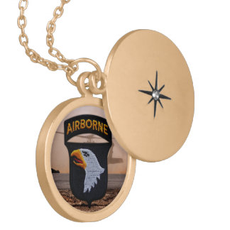101st Airborne screaming eagles veterans patch Gold Plated Necklace