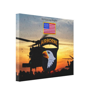 101st airborne screaming eagles veterans vets stretched canvas print
