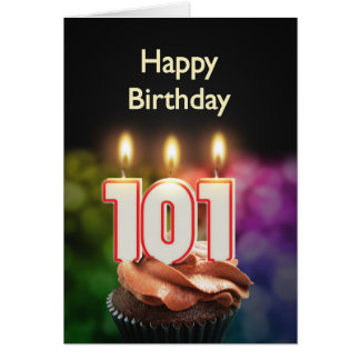 101st Birthday card with Candles