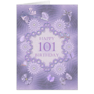 101st birthday card with lavender flowers