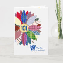 101st birthday for mother, stitched flower card