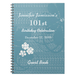 101st Birthday Party Guest Book Blue, White Floral Notebook
