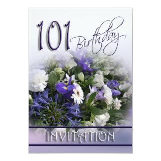 101st Birthday Party Invitation -Blue Bouquet