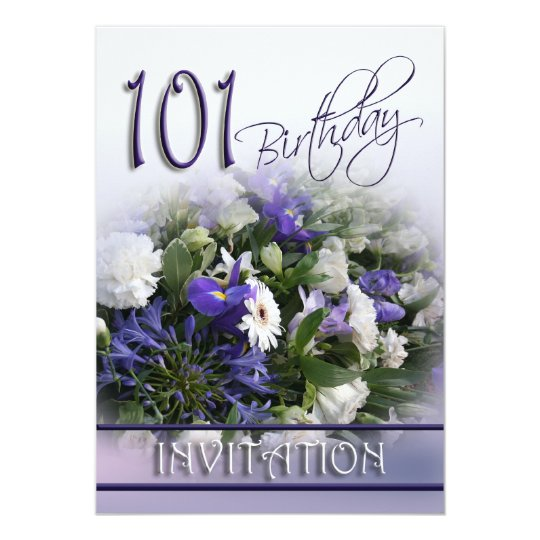 101st Birthday Party Invitation -Blue Bouquet