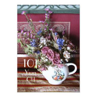 101st Birthday Party Invitation, Vintage Teapot Card