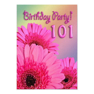 101st Birthday party invitation with pink flowers