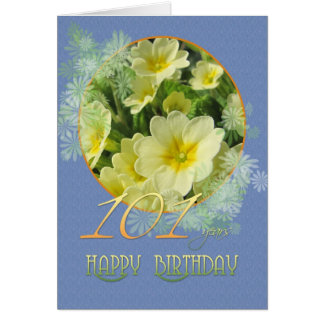 101st Birthday Primroses and blue Card