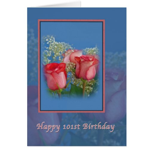 101st Birthday, Religious, Red Roses Cards