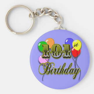 101st Birthday with Balloons Keychain