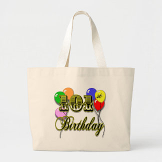 101st Birthday with Balloons Large Tote Bag