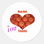 102 un tomate caliente pegatina redonda
