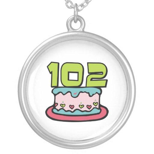102 Year Old Birthday Cake Round Pendant Necklace