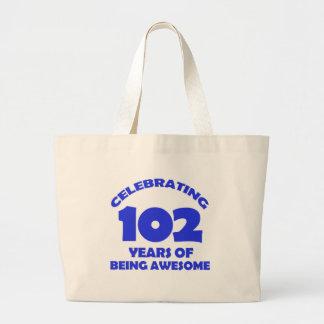 102 years old birthday designs jumbo tote bag