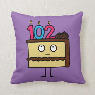 102nd Birthday Cake with Candles Throw Pillow