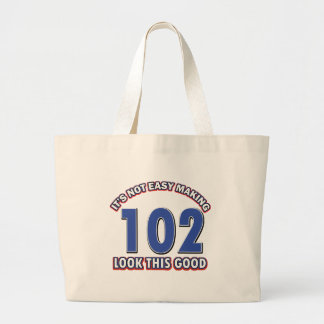 102nd birthday designs jumbo tote bag