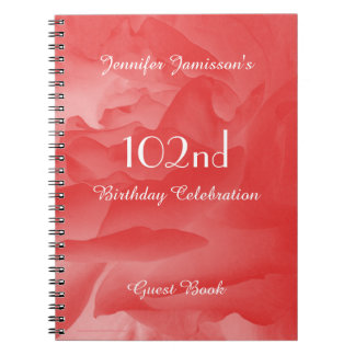 102nd Birthday Party Guest Book, Coral Pink Rose Notebook