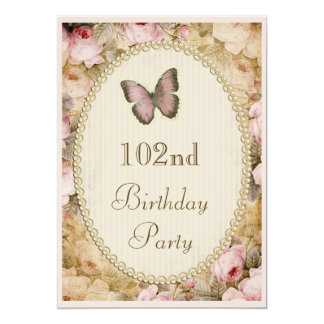 102nd Birthday Vintage Roses Butterfly Music Notes Card