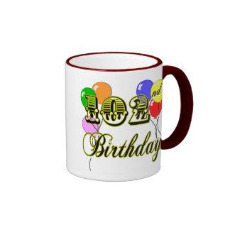 102nd Birthday with Balloons Ringer Mug