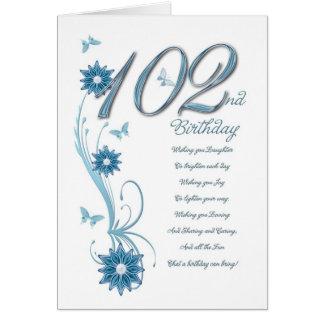 102o cumpleaños en trullo con las flores tarjeta de felicitación