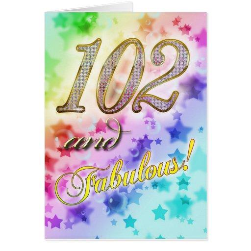 102o cumpleaños para alguien fabuloso tarjeta de felicitación