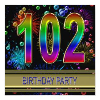 102o Invitación de la fiesta de cumpleaños con las