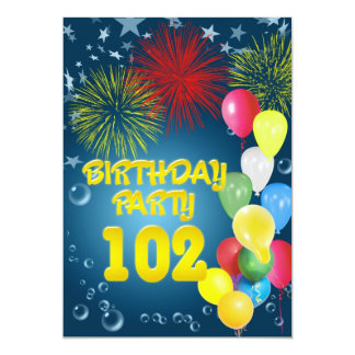 102o Invitación de la fiesta de cumpleaños con los