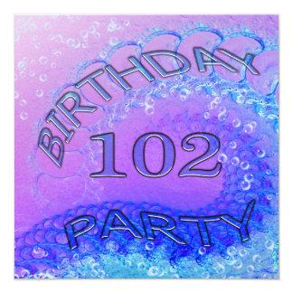 """102o Invitación, extracto y bubb de la fiesta de Invitación 5.25"""" X 5.25"""""""