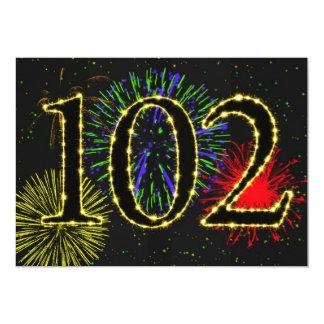 """102o invitate de la fiesta de cumpleaños invitación 5"""" x 7"""""""