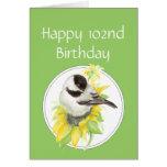 102o pájaro feliz del girasol del Chickadee del cu Felicitación