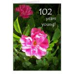 102o Tarjeta de cumpleaños - rosas rosados