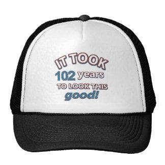 102os diseños del cumpleaños del año gorros bordados
