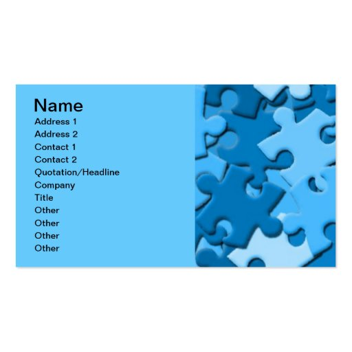 103005-puzzle Dark Light Blues Jigsaw Puzzle Piece Business Card Template