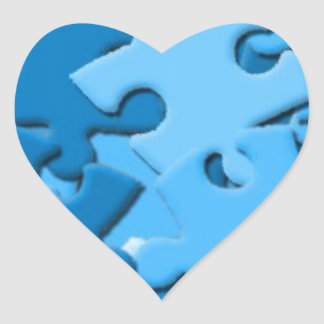 103005-puzzle Dark Light Blues Jigsaw Puzzle Piece Heart Sticker
