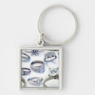 103106-blings DIAMOND WEDDING RINGS JEWELERY BLING Silver-Colored Square Keychain