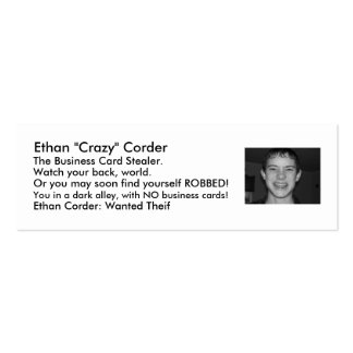 """103_0658, Ethan """"Crazy"""" Corder, The Business Ca... Double-Sided Mini Business Cards (Pack Of 20)"""