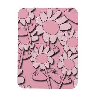 103 PINK CARTOON DAISY PATTERN GIRLY CUTE GRAPHICS RECTANGLE MAGNET