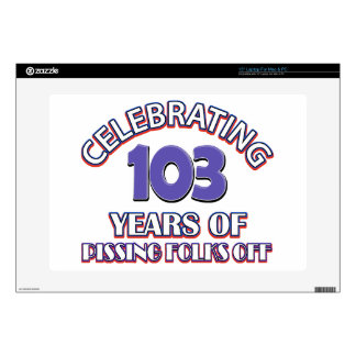 "103 years of raising hell decals for 15"" laptops"