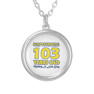 103 YEARS OLD BIRTHDAY DESIGNS ROUND PENDANT NECKLACE