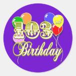 103o Cumpleaños con los globos Pegatina Redonda