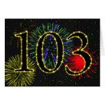 103o Tarjeta de cumpleaños con los fuegos artifici