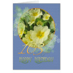 103rd Birthday Primroses and blue Card