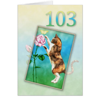 103rd Birthday with a playful cat Card