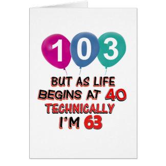103rd year birthday designs card